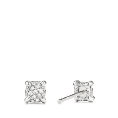Precious Chatelaine® Stud Earrings with Diamonds in 18K White Gold