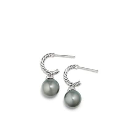 Solari Hoop Earrings with Diamonds and Tahitian Grey Pearl