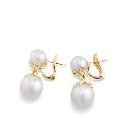 Continuance Pearl Drop Earrings with Diamonds