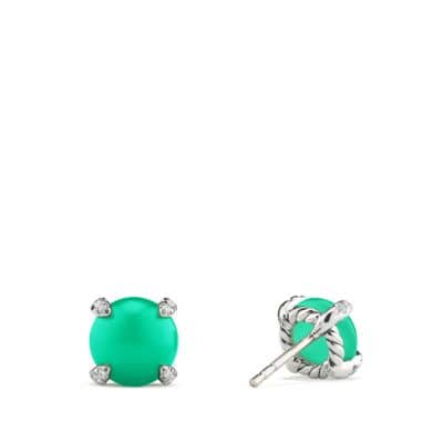 Chatelaine® Stud Earrings with Chrysoprase and Diamonds