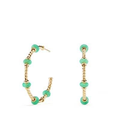 Rio Rondelle Large Hoop Earrings with Chrysoprase in 18K Gold