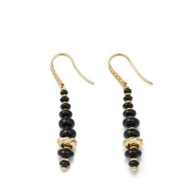 Rio Rondelle Drop Earrings with Black Onyx in 18K Gold