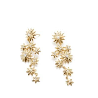 Starburst Constellation Drop earrings in 18K Gold with Diamonds