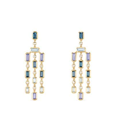 Novella Earrings in Hampton Blue Topaz and Tanzanite with Diamonds