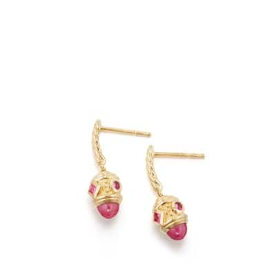 Renaissance Drop Earrings with Ruby in 18K Gold