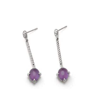 Chatelaine® Cable Stick Drop Earrings with Amethyst and Diamonds