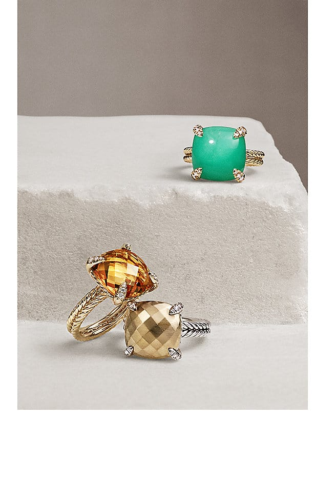 Chatelaine gemstone rings in sterling silver and 18k yellow gold