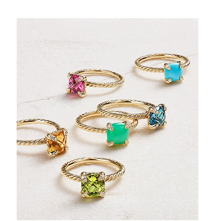 Chatelaine® rings in 18K yellow gold with colored gemstones.