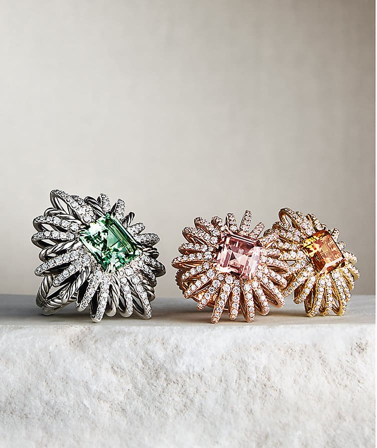 Starburst rings in sterling silver and 18K gold with gemstones and diamonds.