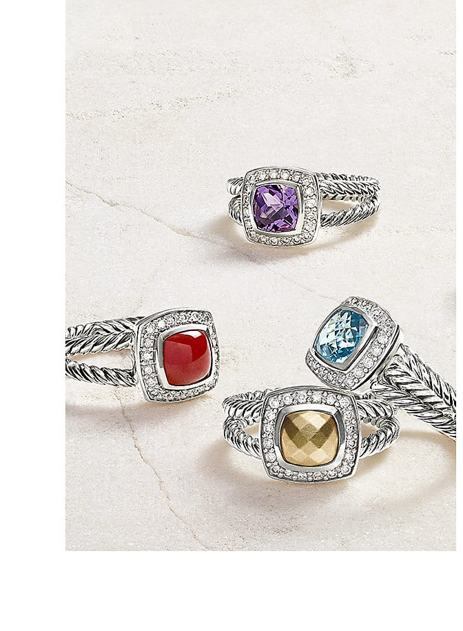 Albion® rings in sterling silver with colored gemstones and a gold dome on a stone.