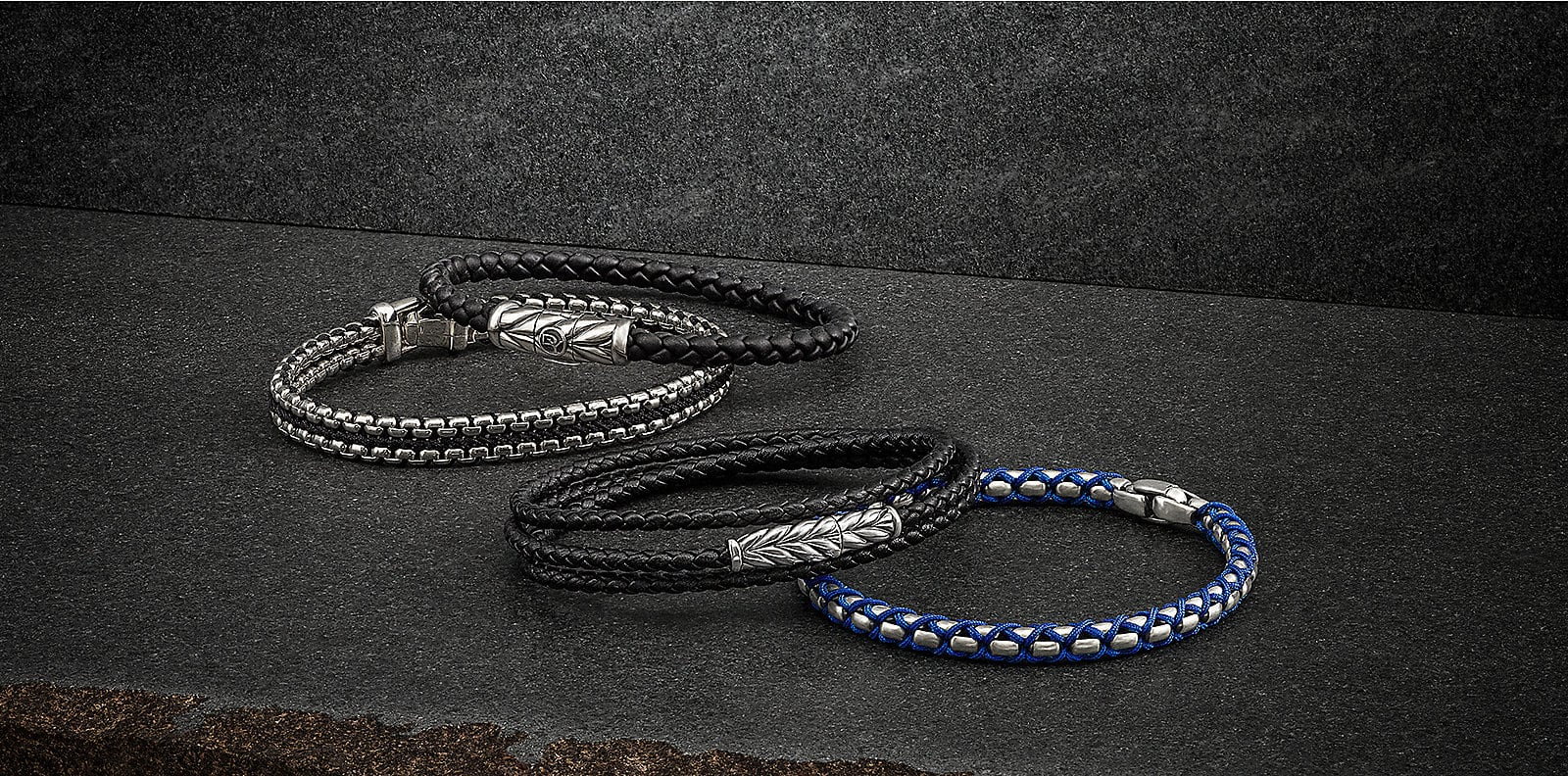 Chevron, Chain and Cable bracelets in leather, sterling silver, nylon and with lapis lazuli.