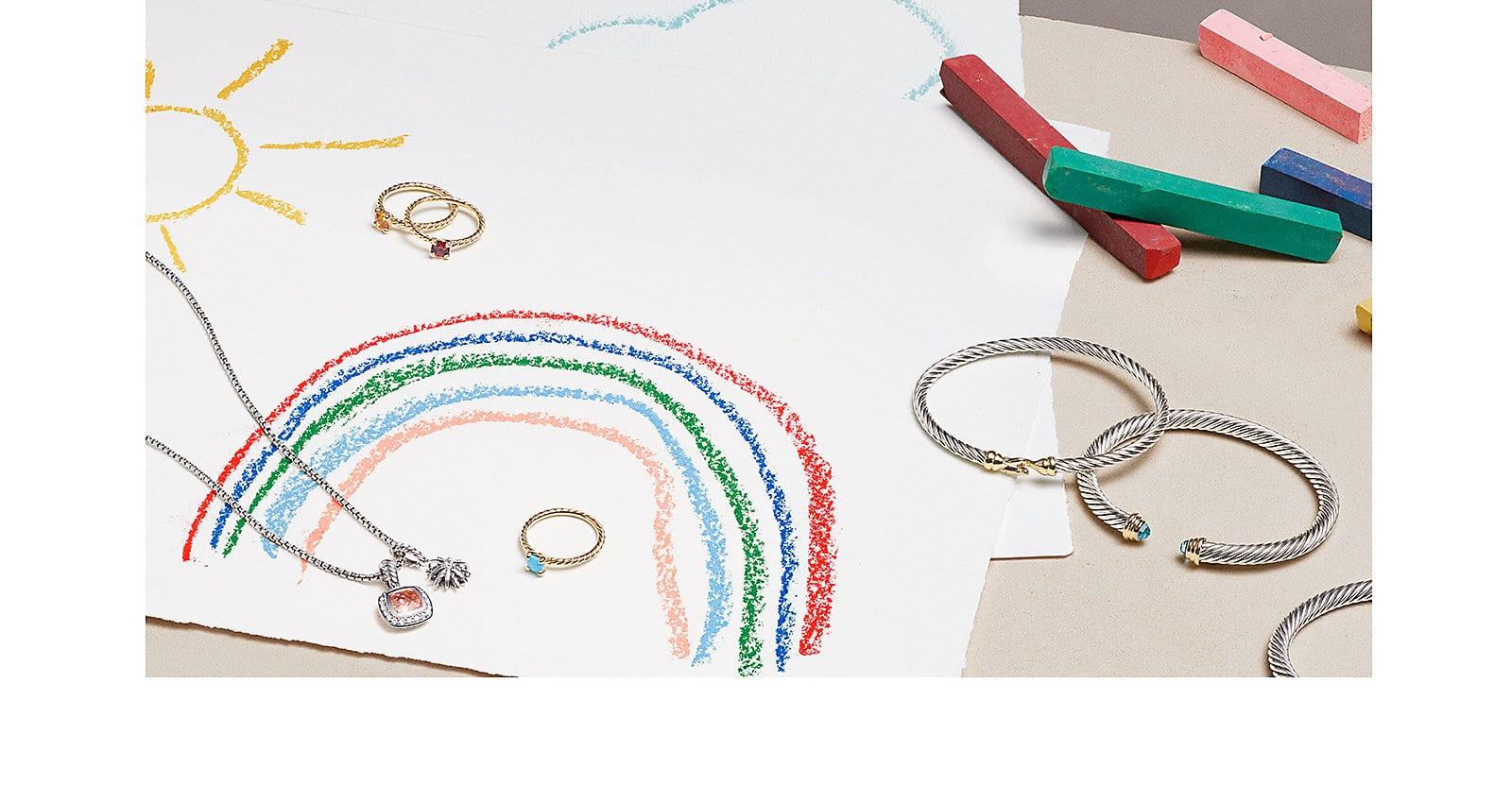 David Yurman jewelry and a children's drawing.