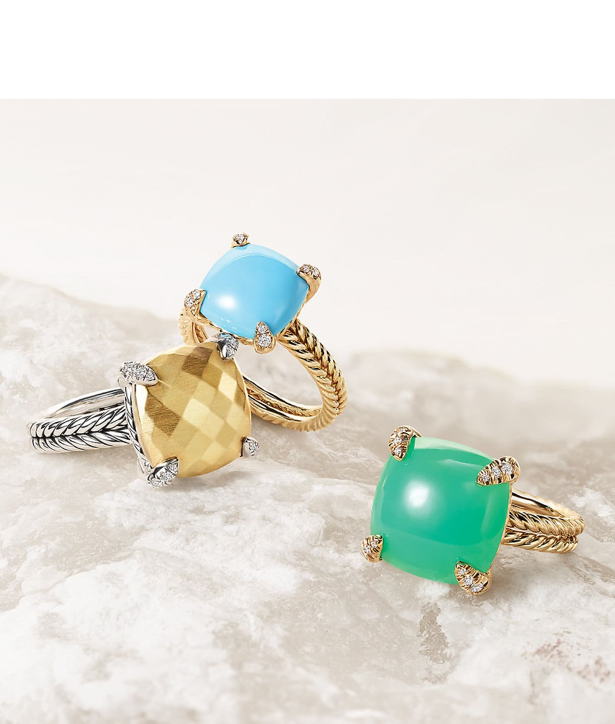 Châtelaine® rings in 18K yellow gold or sterling silver with turquoise, chrysoprase or gold dome and pavé diamonds on a stone.