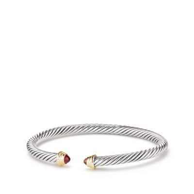 Cable Kids January Birthstone Small Bracelet with Garnet and 18K Gold