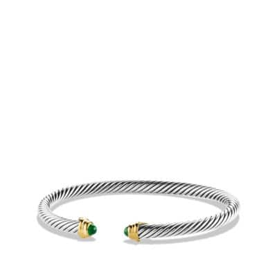 Cable Kids May Birthstone Small Bracelet with Emerald and Gold
