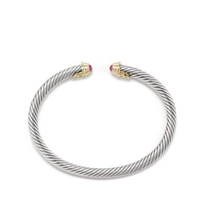 Cable Kids July Birthstone Small Bracelet with Ruby and Gold