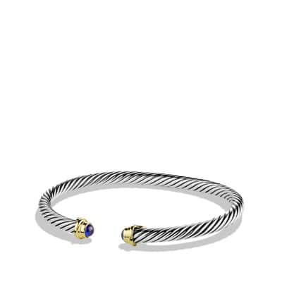 Cable Kids September Birthstone Small Bracelet with Sapphire and 18K Gold