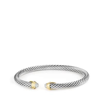 Cable Kids April Birthstone Bracelet with Diamonds and Gold
