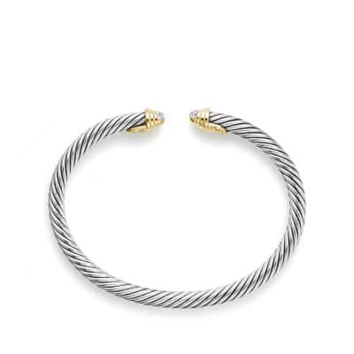 Cable Kids Bracelet with Diamonds and 18K Gold