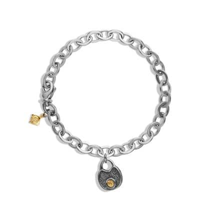 Cable Kids Lock Charm Necklace with accent of 18K Gold