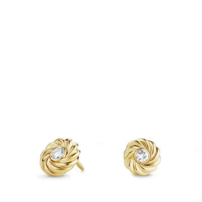 Cable Kids Earrings with Diamonds in 18K Gold