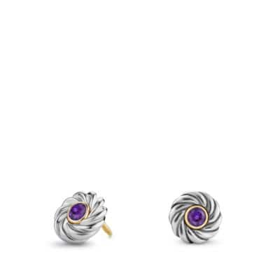Cable Kids February Birthstone Earrings with Amethyst and Gold