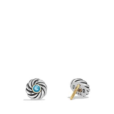 Cable Kids December Birthstone Earrings with Blue Topaz and Gold