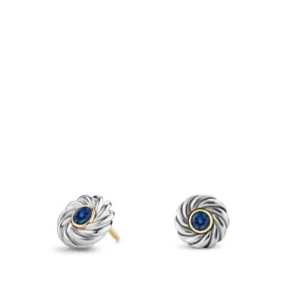 Cable Kids September Birthstone Earrings with Sapphire and 18K Gold
