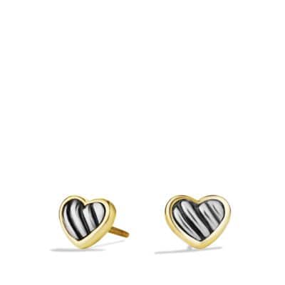 Cable Kids Heart Earrings with Gold