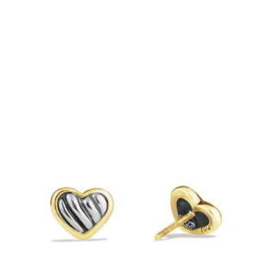 Cable Kids Heart Earrings with 18K Gold