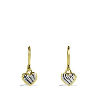 Cable Kids Drop Heart Earrings with Gold
