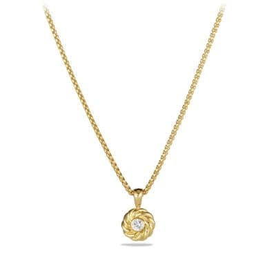 Cable Kids Pendant Necklace with Diamond in 18K Gold