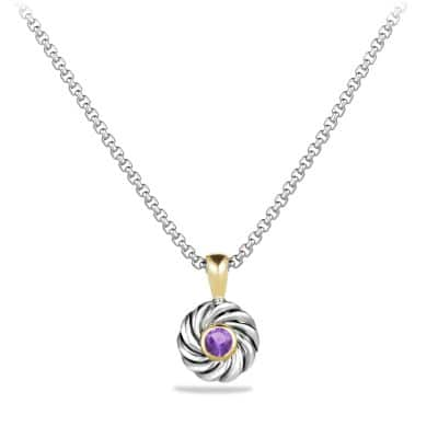 Cable Kids February Birthstone Pendant Necklace with Amethyst and 18K Gold