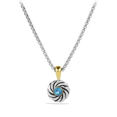 Cable Kids December Birthstone Pendant Necklace with Blue Topaz and 18K Gold