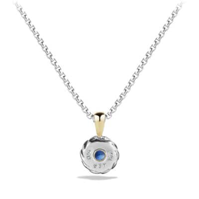 Cable Kids September Birthstone Pendant Necklace with Sapphire and 18K Gold