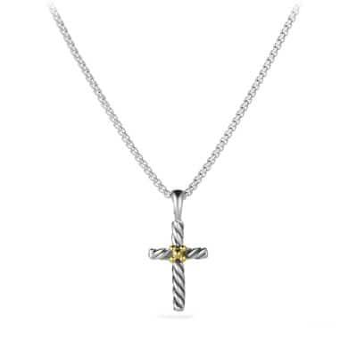 Cable Kids Cross Necklace with 18K Gold