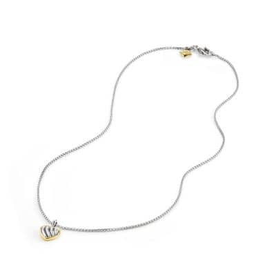 Cable Kids Heart Pendant Necklace with 18K Gold