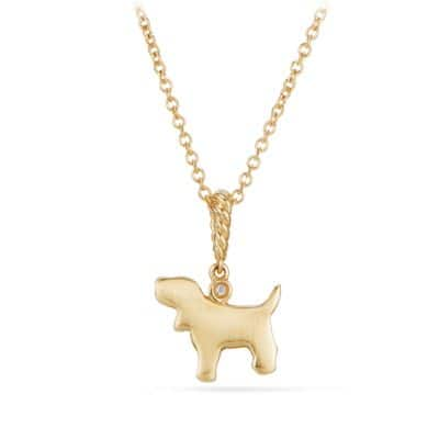 Cable Collectibles® Kids Dog Charm Necklace in 18K Gold with Diamonds