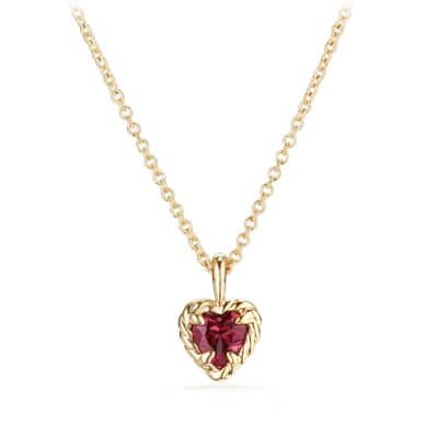 Cable Collectibles® Kids Heart Charm Necklace with Rhodalite Garnet in 18K Gold