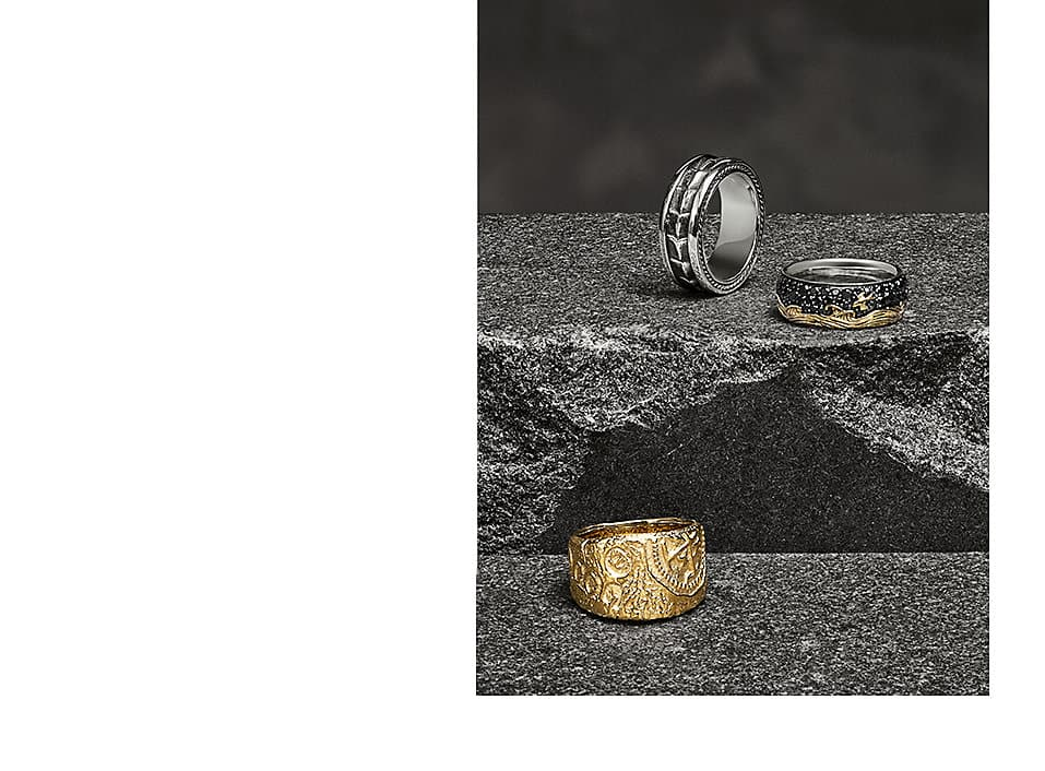 Intricately designed men's rings from the Shipwreck, Waves and Chevron collection