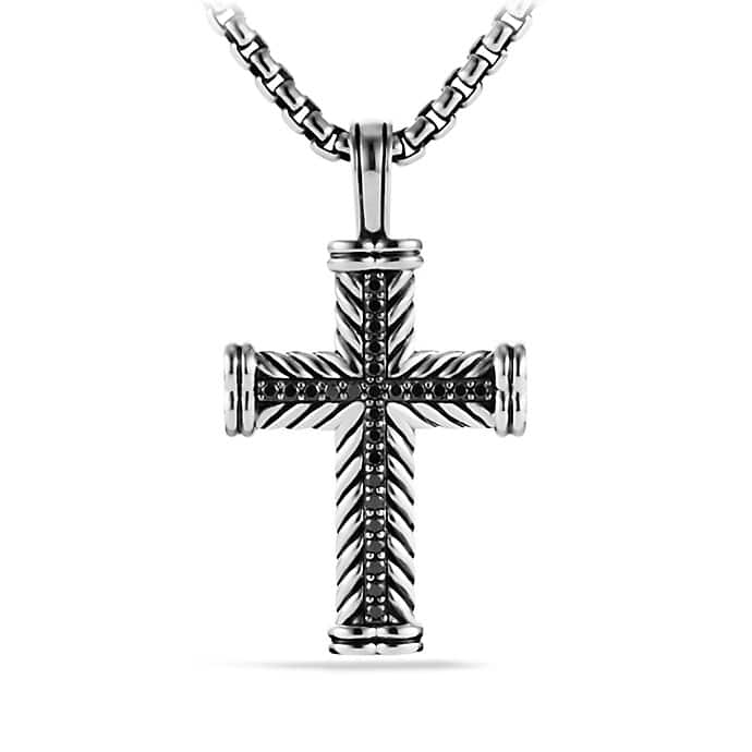 Chevron Cross Necklace with Black Diamonds