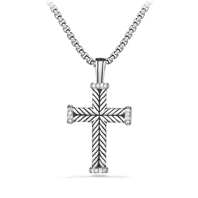 Chevron Cross Necklace with Diamonds