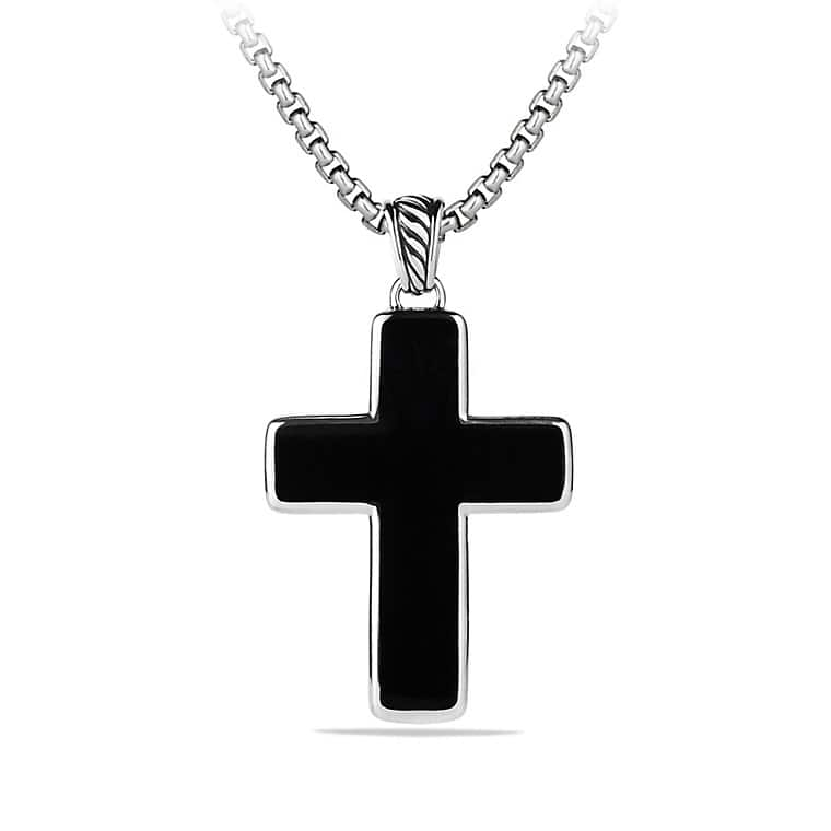 Exotic Stone Large Reversible Cross Necklace with Black Onyx