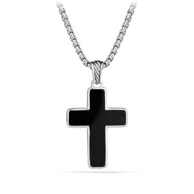 Exotic Stone Small Reversible Cross Necklace with Black Onyx