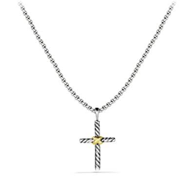 Petite X Cross Necklace with 14K Gold