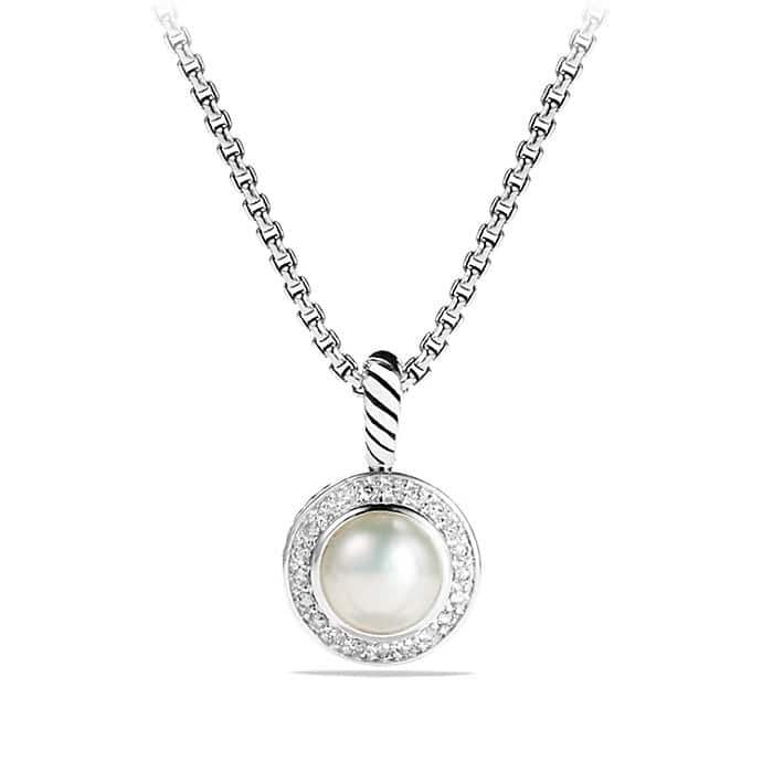 Petite Cerise Pendant Necklace with Pearl and Diamonds