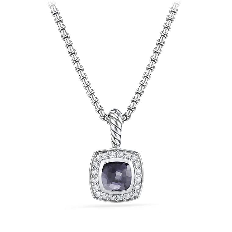 Petite Albion® Pendant Necklace with Black Orchid and Diamonds