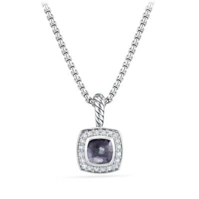 Petite Albion Pendant Necklace with Black Orchid and Diamonds