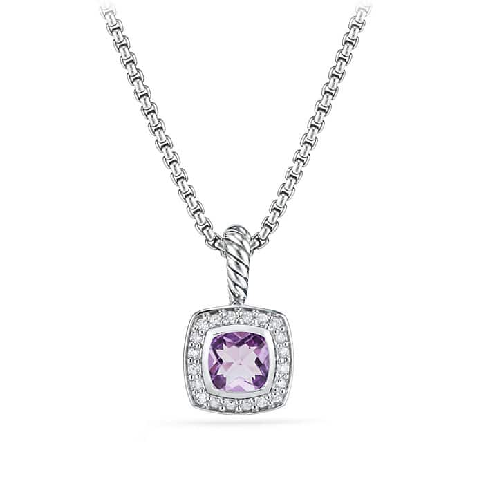 Petite Albion Pendant Necklace with Amethyst and Diamonds