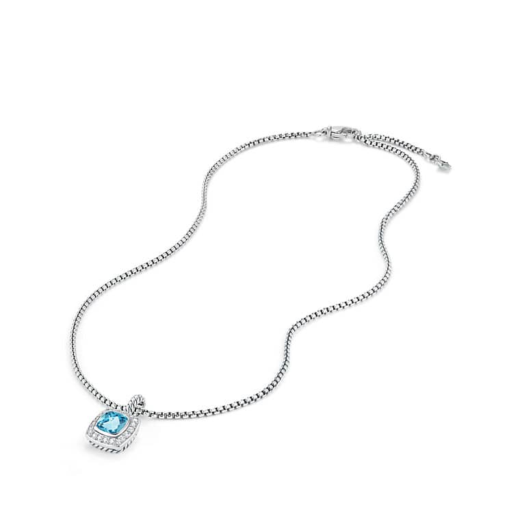 Petite Albion Pendant Necklace with Blue Topaz and Diamonds